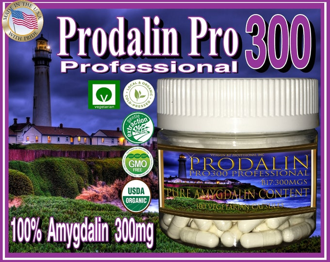 Prodalin Pro300mg 100 Percent Pure Vitamin B17 with 0% Apricot Kernel Extract Organic and Potent 100 Vegetarian Capsules