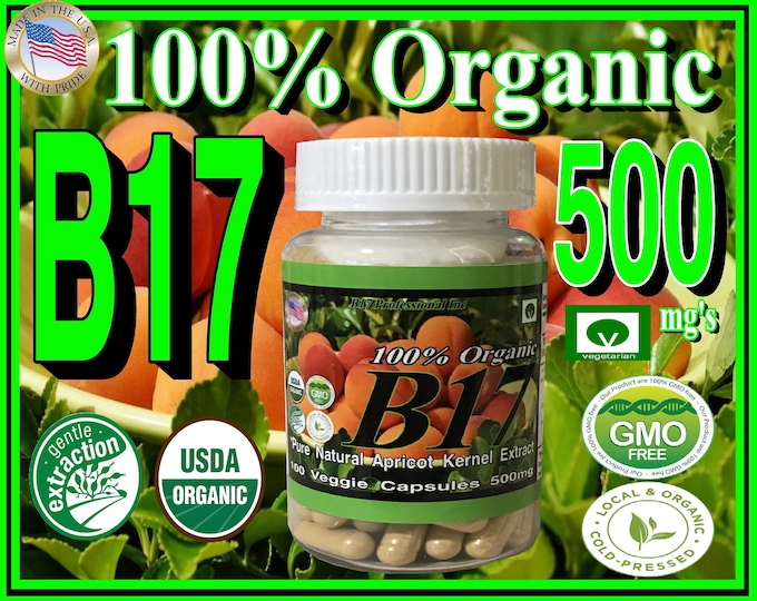 100% Natural Organic Apricot Kernel Extract also known as Vitamin B17 500mg's