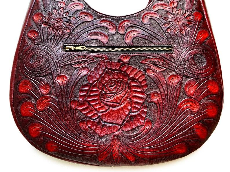 Catrina Tseek hand-tooled leather shoulder bag