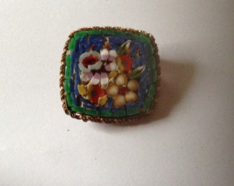 Antique Old Micro Mosaic Brooch