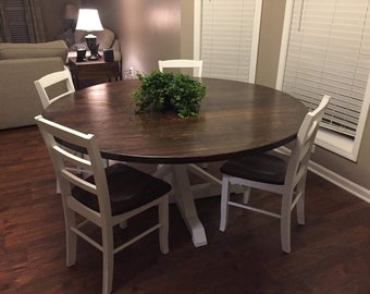 Beau Round Farmhouse Dining, Kitchen Table With Trestle Style Pedestal // FREE  Delivery In VA Or NC But Ship Nation Wide