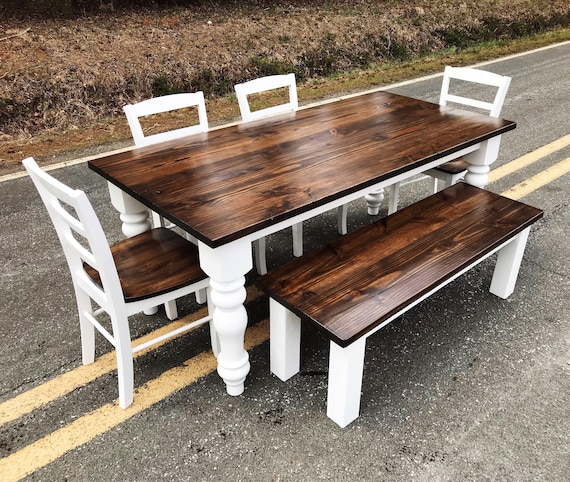 Chunky Leg Farm House Style Kitchen Table, Pine Kitchen and Dining Room  Table // Free Delivery in NC or VA // Contact for Shipping Quotes