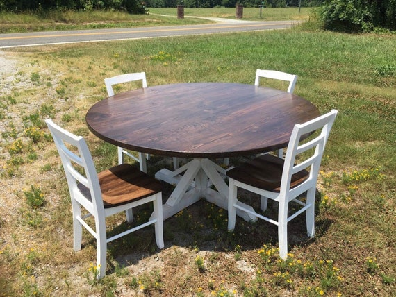 Round Dining Room Table, Kitchen Table Set - 60 inch Round Table + 4 Ladder  Back Chairs - Free Delivery in VA and NC
