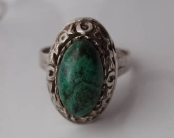Vintage Sterling Silver Sea Green Jasper Stone Adjustable Ring
