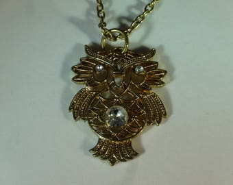 Silver Necklace with Owl Bird Pendant & Chain