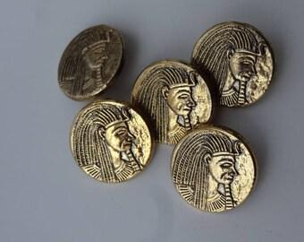 5 Gold Tone Metal Egyptian Pharaoh Buttons Vintage Egypt