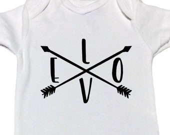 Love with Crossed Arrows, Boho Love, Sweet Baby, New Baby, Black and White, Baby Shower, Non Gender Specific, Adventurous, Baby Gift, Love