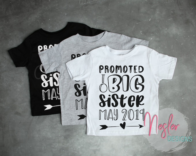 Featured listing image: Promoted to Big Sister Toddler Tee Shirt, Short Sleeve T Shirt, Siblings, Group Shirts, Family Photos, Pregnancy Announcement Shirt
