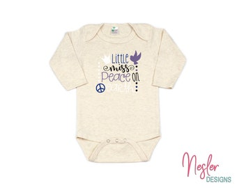 Christmas, Little Miss Peace On Earth, Snow Set, Infant Bodysuit, Baby Girl Shower Gift, Coming Home Shirt, Personalized Gift