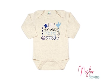 Christmas, Little Miss Peace On Earth, Winter Theme, Infant Bodysuit, Baby Girl Shower Gift, Coming Home Shirt, Personalized Gift