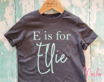 E is for.. Personalized shirt, toddler shirt, monogram shirt