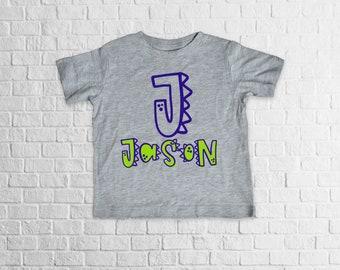 Dinosaur Monogram Shirt, toddler shirt, monogram shirt