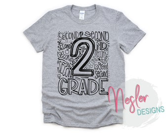2nd Grade Letter Art Shirt, Back to School, Homeschool, Elementary School, Quarantine, Primary School, School Shopping, 2nd Grade Teacher