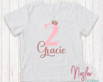 2nd (Second) Birthday Princess Personalized Shirt