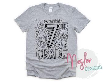 7th Grade Letter Art Shirt, Back to School, Homeschool, Elementary School, Quarantine, Primary School, School Shopping, 7th Grade Teacher