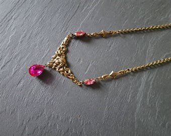 Necklace fine Baroque Teardrop drop fuchsia woman's face and sophisticated chic delicate swarovski crystal rose