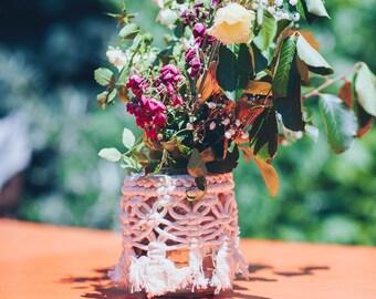 Macrame Vase Cover, Jar Wrap, Wedding Centerpiece, Rustic Wedding Decor, Table Decor For Special Event, Macrame Jar Cover, Vase Wrap, Boho