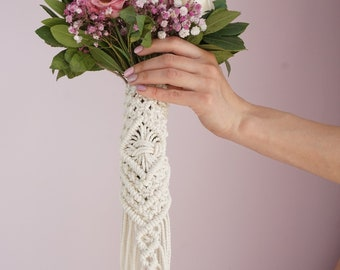 Macrame Bouquet Wrap, Bridal Bouquet Wrap, Wedding Bouquet, Boho Style, Macrame Wedding, Bouquet Holder, Boho Wedding Bouquet, Boho Bride