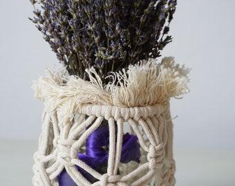Macrame Jar Cover, Vase Wrap, Rustic Wedding Decor, Table Decor, Modern Macrame, Jar Wrap, Table Decoration, Flower Arrangement, Macrame