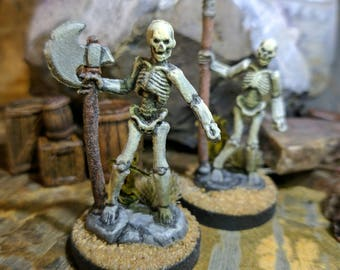Skeleton Fighter Miniatures (2) Axe and Spear with Grass/Sand Base - (Hand Painted Mini for Dungeons and Dragons, Pathfinder)