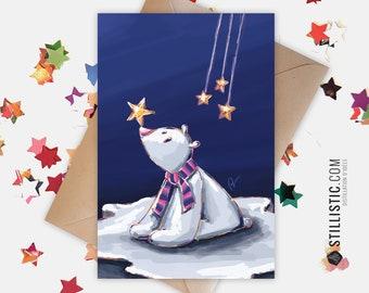 Carte De Voeux Noël Nouvel An Panda Roux Et Champagne