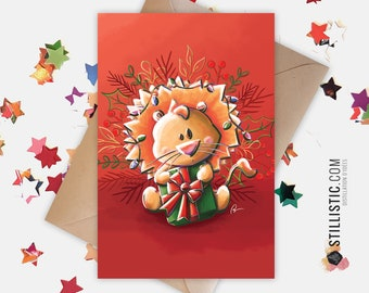 350g Paper Greeting Card with Original Lion Illustration and Garlands for Christmas New Year