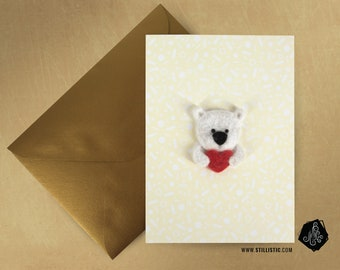 Greeting card luxury large Valentine's day mother's day bear fleece and felted wool heart + envelope