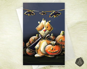Halloween pig greeting card from India and pumpkins