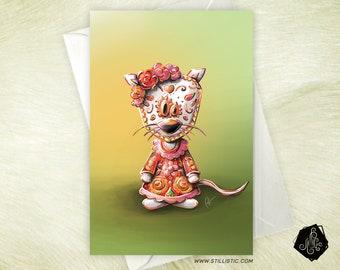 Card mouse Mexican Dia de los muertos birthday birthstone