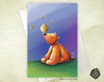 Friendship birthday birthstone Teddy bear and bee mother's Day greeting card