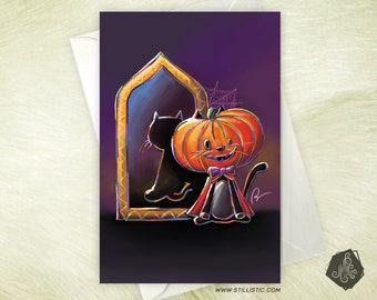 Halloween Pumpkin cat greeting card