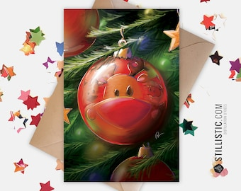 350g Paper Greeting Card with Original Illustration Reindeer Christmas Ball for Christmas New Year