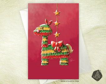 Greeting card mothers day Christmas new year birthday llama piñata