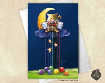 Greeting card celebrates mothers friendship Valentines Moon and Rainbow balls Illustration