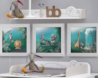 Triptych square frames 25 x 25 birth gift with Illustration Jungle nursery kids baby