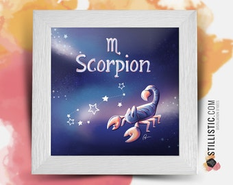 Square frame with illustration astrological sign phosphorescent scorpion for Baby Child Room 25x25cm