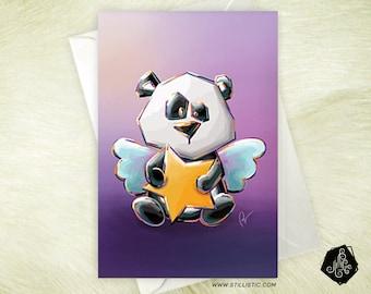 Baby Angel panda greeting card and star birthday birthstone
