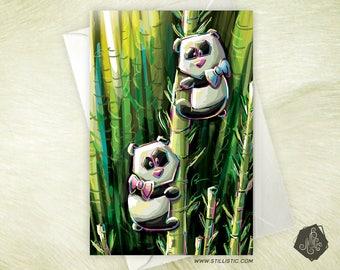 Greeting card mothers friendship birthday birthstone Pandas and bamboo