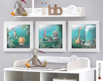 Triptych lot of 3 square frames with Illustration Animals of the Jungle for Baby Child Room 25x25cm
