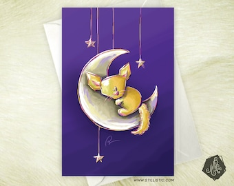 Greeting card mothers day Christmas new year friendship birthday birthstone Fennec and moon