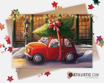 350g Paper Greeting Card with Original Illustration Mouse and Christmas Tree for Christmas New Year