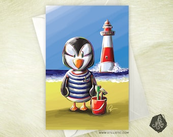 Friendship birthday birthstone Puffin seaside mother's Day greeting card
