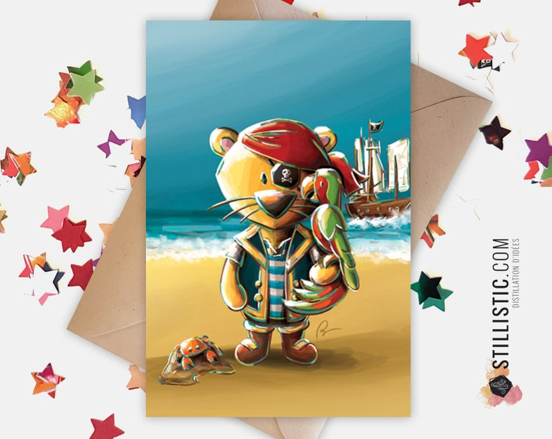 Invitation Friendship Invitation Card Pirate Lion and Parrot Anniversary Friendship