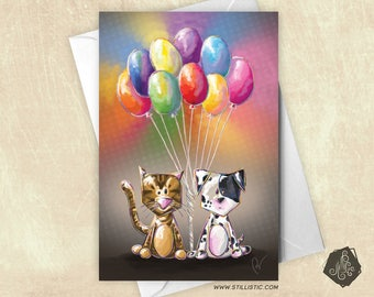 Puppy and kitten balloons friendship birthday mother's Day greeting card