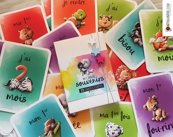 Box cards stages birth baby memories children animal illustrations