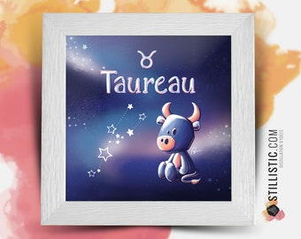 Square frame with Illustration astrological sign phosphorescent bull for Baby Child Room 25x25cm