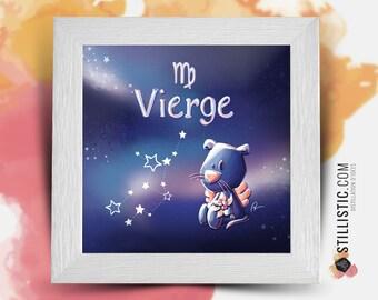 Square frame with illustration astrological sign virgin phosphorescent for Baby Child Room 25x25cm
