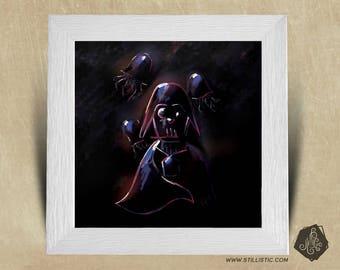 Frame square 25 x 25 birth gift with Illustration Dark Vader jellyfish Star Wars boy nursery