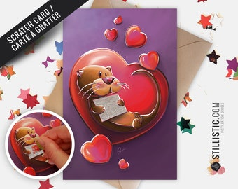 350g Scratch Paper Greeting Card with Original Illustration Otter Love for Valentine's Day Birthday