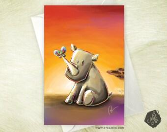 Greeting card mothers day birthday Rhino in the Savannah